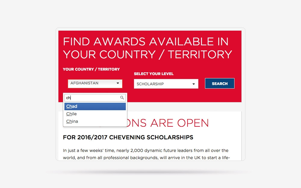 chevening scholarships website